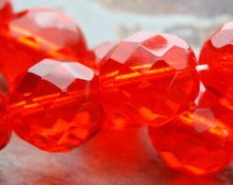 8 mm Czech glass beads - faceted in orange tangerine