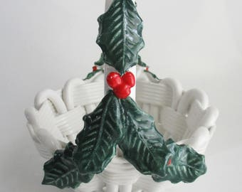 Vintage Ceramic Holly Basket Woven Holly Berries Candy Dish Made in Italy