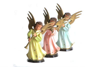 "Three Hand Painted Angel Musicians 5"" Tall Plastic Hong Kong Holiday Figurines Violin Trumpet and Flute Players"