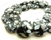 20x15mm Black and White Mother of Pearl with Resin Oval Beads - 19pc Strand - White Pearl Chips, Mosaic Pattern, Puffed - BQ29
