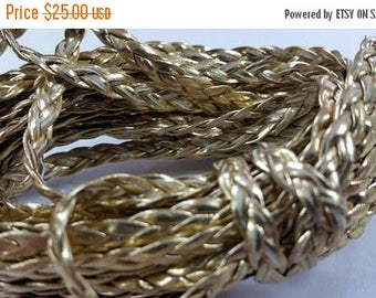 100 YARDS - 5MM Gold Metallic Herringbone Style Woven Braided Flat Faux Leather Cord BC0001