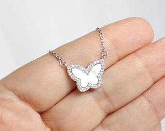 SALE 15% OFF Butterfly Necklace, Sterling Silver Butterfly Necklace, Mother of Pearl CZ Butterfly Necklace, Small Butterfly, Charm Necklace,