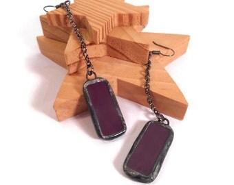 Purple Glass Earrings Long Dangle Earrings Stained Glass Earrings Handmade Earring Plum Drop Earrings Dangle Earring Purple Chain Earrings