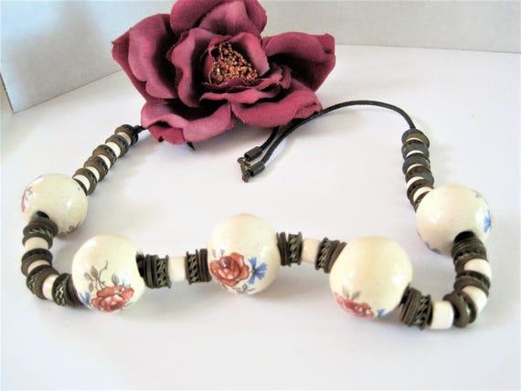 Rose Bead Necklace - Hand Painted Ceramic Beads - 5 Large Beads - Boho Choker