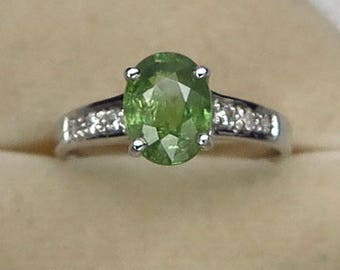 1.85 Ct Natural Demantoid Garnet Green Yellow Unheated Ring Silver 925