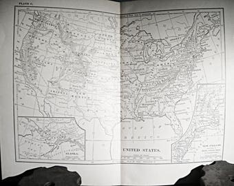Vintage Usa Map Etsy - Us in 1800 black and white map