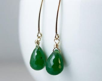 ON SALE Emerald Green Faceted Nephrite Jade Earrings - Sterling Silver- 14kt Gold Fill - Simple Earrings