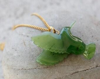 FLASH SALE Jade Hummingbird Necklace - Nephrite Jade - Gold -Sterling Silver