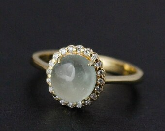 FLASH SALE Icy Mint Green Jadeite Ring – Diamond Halo – 10KT Yellow Gold - Vintage Inspired