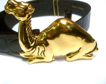 Exotic Huge Gilt Metal Camel Buckle Belt