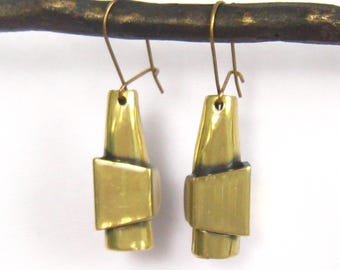 Modernist Brass Drop Earrings from the 1970's have an Artisan Look with Interesting Shapes & Angles.  Hollow, but  NOT Flimsy. Closed Hooks