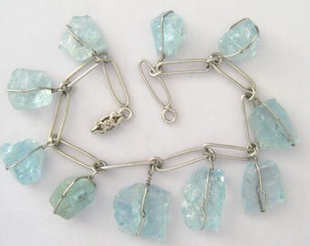 Sterling Silver Artisan Charm Bracelet Boasts 10 Raw Aquamarine Wire Wrapped Caged Nugget Charms.  SWEET.  1940-1960 Vintage.