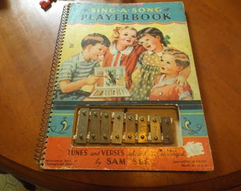The Second Sing-A-Song PlayerBook by Sam See Xylophone  McLoughlin Bros. 1939 hardcover Spiral Bound