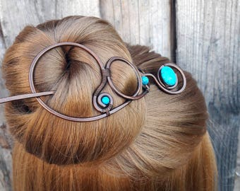 Large Turquoise Hair Barrette Copper Hair Slide Hair Pin Stick Hand Forged Wire Wrapped Jewelry Wire Work Handmade Womens gift for he
