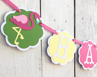 Flamingo Birthday Banner/ Garland/ Turquoise/ Pink/ Age/ Name/ Party Decorations/ 1st Birthday/ Summer Party