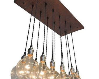 Summer Promo Industrial Chic Chandelier With Exposed Bulbs and Twisted Cord