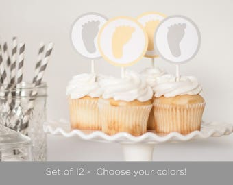 Set of 12 - Baby Shower Cupcake Toppers -  Yellow and Gray - Footprint Cupcake Toppers