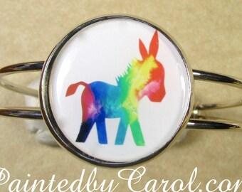 Donkey Bracelet, Donkey Cuff, Donkey Jewelry, Donkey Gifts, Burro Bracelet, Burro Jewelry, Burro Cuff, Rainbow Donkey, Burro Gifts