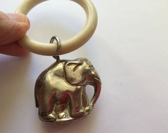 Vintage Baby Rattle Silver Plated Elephant Rattle with Teething Ring