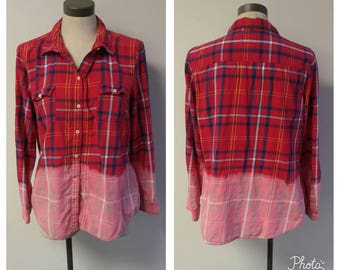 Upcycled Clothing, Dip Dyed Red and Navy Plaid Shirt, Vintage Flannel Shirt, Bleach Dyed, Reclaimed Button-up Shirt, Ladies M #116