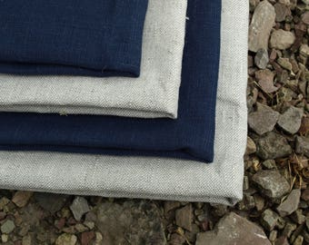 Linen Kitchen Towels Set of 4 Organic Linen Natural Grey and Navy Blue