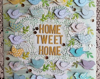 Home Tweet Home Mixed Media Paper Collage with Birds, AQUA, Yellow & Grey