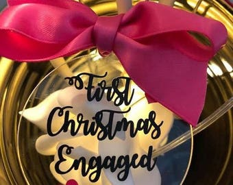 First Christmas engaged acrylic tree bauble decoration personalised with year of engagement eg 2017