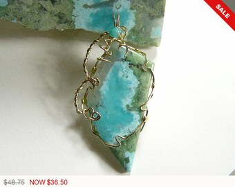 Blue Amazonite and Diopside crystal wire wrapped gemstone cabochon, 14kgf wire wrapped pendant, natural gemstone, polished back (w077)