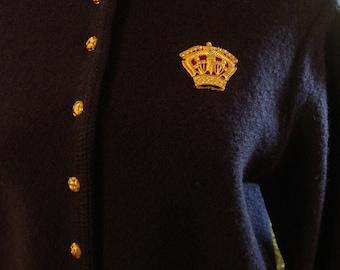 Vintage Navy Karen Scott Gold Button Sweater