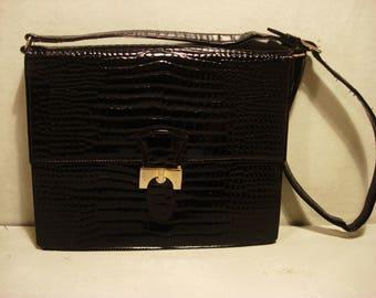Vintage 1960 Classic Black Patent Faux Crock Handbag