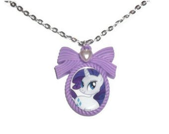 Rarity Cameo Necklace, Kawaii MLP Purple Pendant, Friendship is Magic