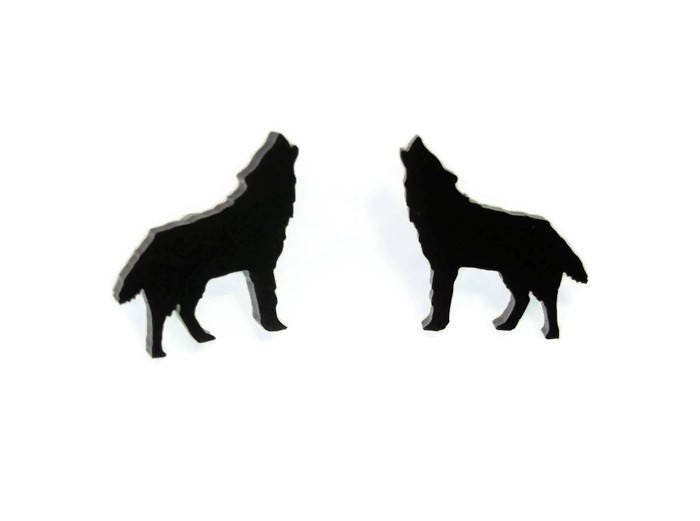 Howling Wolf Stud Earrings Animal Jewelry Laser Cut Acrylic Wolves