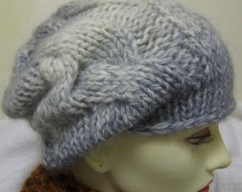 Cable Winter hat hand knit in a blend of wool, mohair and acrylic - Size S/M