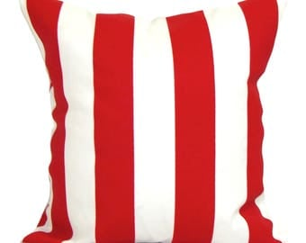 PILLOW, PILLOW COVERS, Outdoor Pillow Cover, Decorative Pillow, Red Throw Pillow, Canopy Stripe. Red Stripe \ Pillow, All Sizes, Cushion