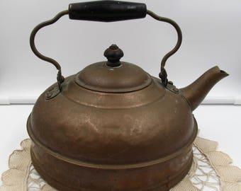 Vintage Primitive Copper Tea Kettle,  Authentic Copper Tea Kettle, Farmhouse Rustic Decor, Primitive Original Patina Copper Kettle,