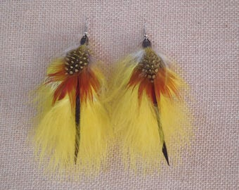 Completely handmade feather earrings