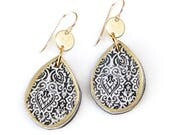 Teardrop LUXE COIN Art Earrings - Next Romance Jewellery Made in Melbourne Gorgeous GIFT Moroccan Tile light polyresin bridesmaid gift