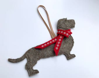 Long Wire Haired Dachshund Dog Christmas Decoration, tree decoration