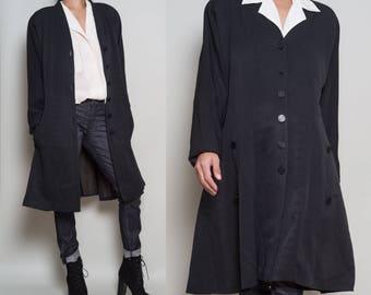 1990s// CHLOÉ Paris// French Chic Flared Hem Black Dress Jacket// Med