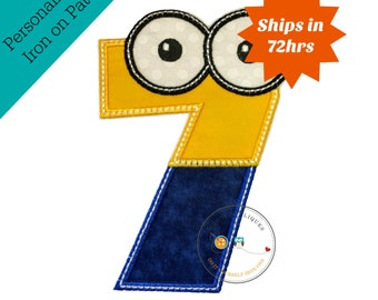 Boy little helper birthday number 7 - iron embroidered fabric applique patch embellishment- ready to ship