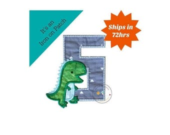 ON SALE NOW Dinosaur birthday number fifth machine embroidered patch, fast shipping iron on Dino birthday applique, green and gray number 5