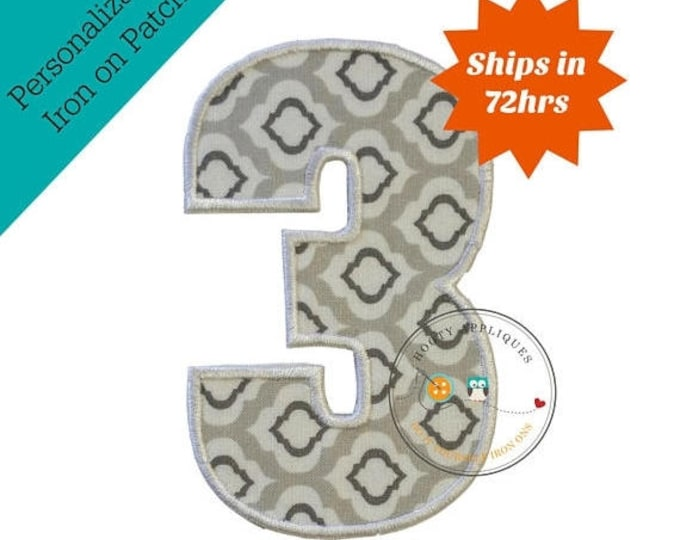 ON SALE NOW Large gray and white number 3- iron embroidered fabric applique patch embellishment- ready to ship