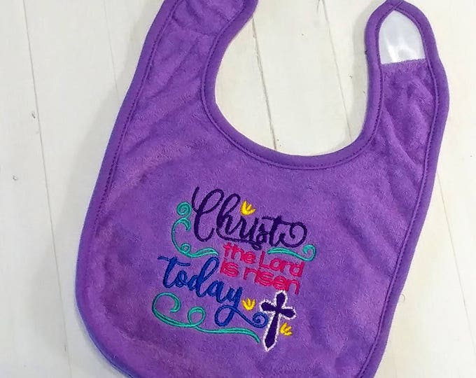 Christ the Lord is risen today purple Easter embroidered Koala Baby cloth baby bibs for 6-12 month old girls