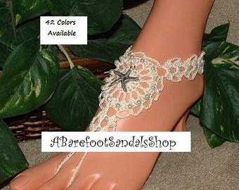 STARFISH Barefoot Sandals Women's Shoes Starfish Beach Wedding Toe Thong Crochet Anklet Foot Body Feet Jewelry Ankle Bracelet Sandles SIZED