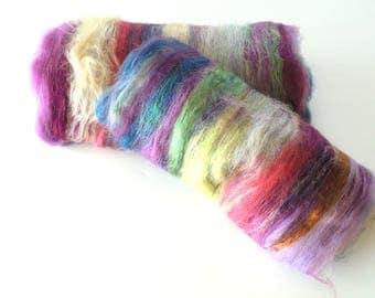 Merino Wool Art Batt - MIDSUMMER NIGHT'S DREAM - Phat Fiber, Silk Art Batt, Alpaca Spinning Batt, Shimmery Art Batt, Soft Felting Batt
