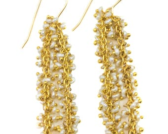 Seed Pearl Earrings  14k Gold Filled French Ear Wires White Dense Cluster Freshwater Drops 2 Inch