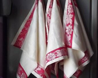 Linen tea towel. Jacquard Linen Towel. Linen kitchen towel. Jacquard tea towel. Striped tea towel. Red striped towel. Kitchen tea towel.