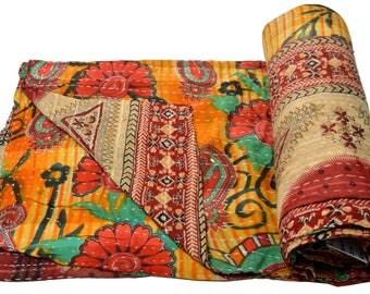 Vintage Kantha Quilt Gudri Reversible Throw Ralli Bedspread Bedding India OG1050