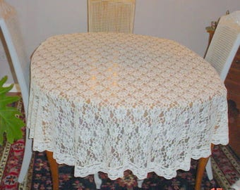 Lace Tablecloth Cream Floral Pattern Vintage French Country Cottage Chic Prairie Farmhouse