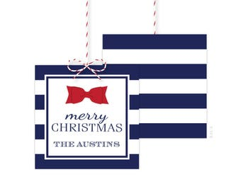 Christmas Gift Tags - Holiday Party Favor Tags - Christmas Party Tags - Printed or Printable - Free Shipping - Navy Stripes